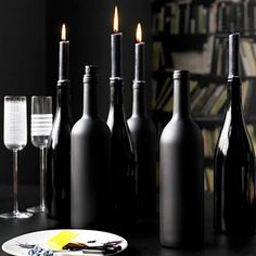painted wine bottle candle holder