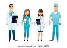 Doctors and nurses team. Cartoon medical staff. Medical team concept. Surgeon, nurse and therapist on hospital. Professional health workers.