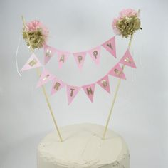 """Birthday Cake banner, Gold,  Pink Ombre """"Happy birthday"""" cake bunting topper K211, ombre birthday cake banner on Etsy, $36.00"""