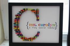 so cute - crayon monogram - teacher gift