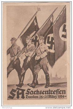 SA Sachsentreffen 1934, Fahnenträger, Oberfrohna, Propaganda-Künstler- Postkarte