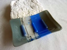 Glass Soap Dish in Cobalt Blue and Gray