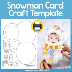 Cotton Ball Snowman Craft - DIY Christmas Card - Easy Peasy and Fun - Basteln Weihnachten-Winter - Preschool Christmas, Diy Christmas Cards, Christmas Activities, Christmas Crafts For Kids, Holiday Crafts, Homemade Christmas, Christmas Snowman, Toddler Crafts, Preschool Crafts