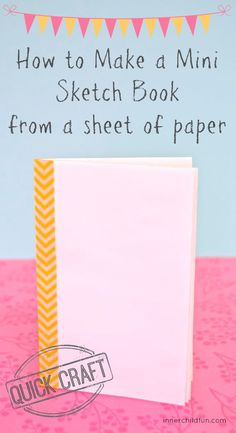 How to Make a Mini Sketchbook from a Sheet of Paper (EASY Pin now, save for later. These mini sketchbooks would be great for party favors or just for doodling whenever inspiration strikes! So easy too! Includes a mini video tutorial. Quick Crafts, Fun Crafts, Crafts For Kids, Paper Crafts, Operation Christmas Child, Book Binding, Book Making, Elementary Art, Mini Books