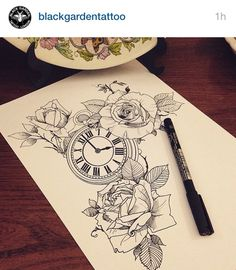 roses clock tattoo inspiration                                                                                                                                                                                 More