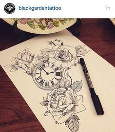 roses clock tattoo inspiration