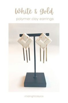 White leather effects polymer clay earrings. Chevron shaped earrings with brass dangles. Minimalist earrings perfect for a spring wedding or for date night. Give as a unique birthday gift for coworker, sister in law, or mom. Great mothers day gift idea. Shop these boho style handmade statement earrings for her in my etsy shop!