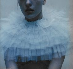 blue here is a shell for you inside you'll hear a sigh a foggy lullaby milla jovovich photographed by mario sorrenti, i-D february 1996 Mario Sorrenti, Milla Jovovich, Vogue Spain, Vogue Korea, Vogue Russia, Aesthetic People, Genderqueer, Pastel Blue, Wedding Humor