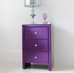purple glass bedside table by out there interiors | notonthehighstreet.com