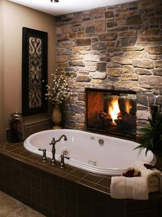 Take a deep breath and get ready to enjoy these Dreammy Bathroom Fireplaces ‪#‎bathroomvanity‬, ‪#‎fireplacedesigns‬ ‪#‎relax‬