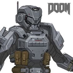 DOOM - MP Utilitarian Armor Sets, Emerson Tung on ArtStation at https://www.artstation.com/artwork/nLPD9