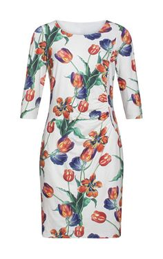 19234 White Smashed Lemon Tulip Print Dress With Sleeves Animal Print Dresses, Holiday Dresses, Wrap Style, Frocks, Wrap Dress, Fashion Dresses, Dresses With Sleeves, Retro, Lemon