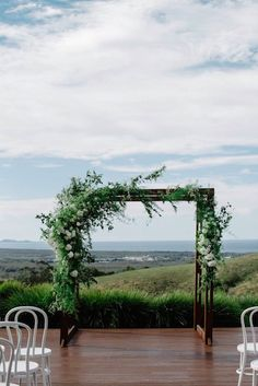 Wedding Flowers green and white floral arbour - Belle and Chris decided on their wedding venue long before they were even engaged. Horizon in the Byron Bay hinterland, provided the perfect lush backdrop for their chic affair. Church Wedding Flowers, Green Wedding, Floral Wedding, Green And White Wedding Flowers, Elegant Wedding, Wedding Arbors, Arch Wedding, Wedding Reception, Wedding Ideas