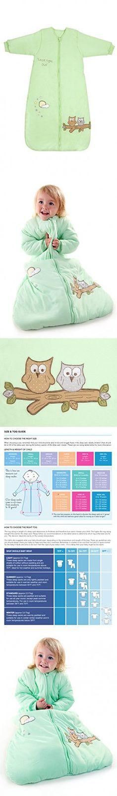 Winter Baby Sleep Sack Long Sleeves Wearable Blanket 3.5 Tog - Mint Owl - 0-6 months/Small