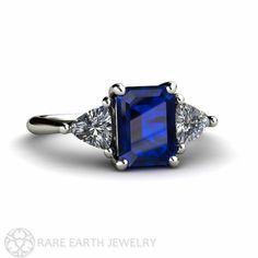 Platinum Blue Sapphire Engagement Ring 3 Stone Vintage Blue Sapphire Ring with Diamond Trillions