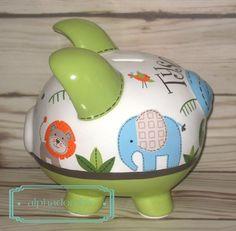 Alcancía personalizada selva Jubileo mano pintado cerámica