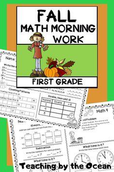 First Grade Lessons, First Grade Activities, 1st Grade Math, Second Grade, Subtraction Activities, Math Activities, Thanksgiving Math, Daily Math, Math Work