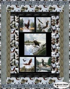 Majestic Bald Eagle Wings Free Quilt Pattern by Elizabeth's Studio Moose Quilt, Bird Quilt, Quilting Projects, Quilting Designs, Quilting Ideas, Quilting Board, Sewing Projects, Vogel Quilt, Wildlife Quilts