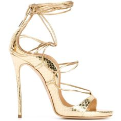 Dsquared2 Riri Sandals ($984) ❤ liked on Polyvore featuring shoes, sandals, heels, metallic, leather sandals, dsquared2 shoes, stilettos shoes, open toe shoes and stiletto heel sandals