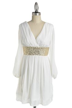 Roman Goddess Long Sleeve Sequin Dress - White + Gold - $57.00 | Daily Chic Dresses | International Shipping #engagement