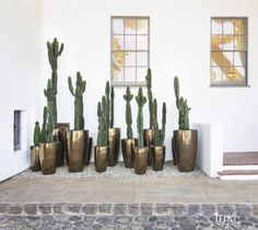 Container gardens continue to increase in popularity, as water becomes more of a valuable commodity, especially in drought-prone areas like Southern California. Just because they're practical, however, doesn't also mean they can't be fun. Los Angeles-based designer Kathleen Ferguson suggests using pots in unexpected shapes, colors and textures to add interest to your outdoor space.