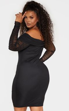 Plus Black Ruched Bardot Mesh Midi Dress Plus Size Beauty, Beauty Full Girl, Curvy Women Fashion, Plus Size Fashion, Plus Size Dresses, Short Dresses, Plus Zise, Fashion Nova Curve, Latest Ankara Styles
