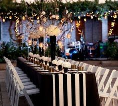 Black and white wedding decor sophisticated black and white wedding reception ideas reception Black And White Tablecloth, Striped Table Runner, White Napkins, Black Tablecloth Wedding, Mod Wedding, Dream Wedding, Wedding Day, Wedding Venues, Wedding Table
