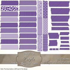 360 pieces of purple digital tape (24 patterns in 15 different sizes) Files are PNG with a transparent background.  The tapes are great for blogging, scrapbooks, cards, invitations, and more... $4.75 #digital, #tape, #washi, #patterns, #chevron, #checks, #stripes, #polka dots, #damask, #Moroccan, #argyle, #purple, #scrapbooking, #cards