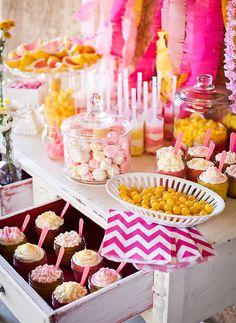 Pink chevron dessert table/// love the cupcake drawer idea