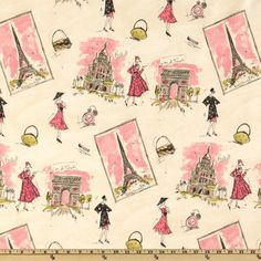 """Tres Chic"" - FABULOUS!!! Vintage 50s looking print with images of the Eiffel Tower, fashion accessories, and chic ladies, all in watercolor shades of pink, gray, black, and touches of moss green."