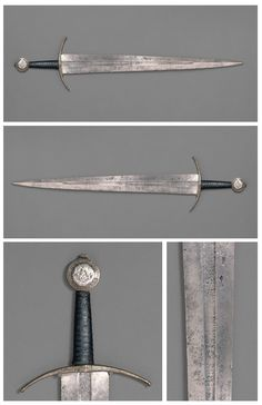 "Sword from Western Europe dated to circa 1400. Finished in steel, silver, copper and leather. Total length 102.24cm, blade length 81.28cm, weight 1673g. The latin inscription on the pommel reads ""here, too, virture has its due reward"" (Virgil, Aeneid, book 1, line 461). Currently housed at the The Metropolitan Museum of Art."