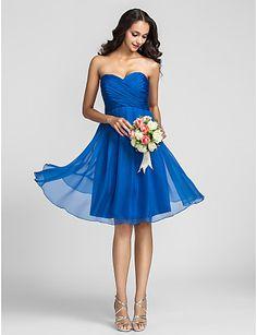 cariño una línea de la rodilla-longitud del vestido de la dama de honor de gasa (722115) - EUR € 65.33
