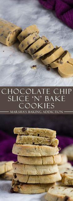 Chocolate Chip Slice 'n' Bake Cookies | http://marshasbakingaddiction.com /marshasbakeblog/