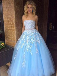 Cheap A-line Sky Blue Lace Appliqued Tulle Long Strapless Prom Dresses Prom Dresses Cheap, Prom Dresses, Prom Dresses Lace, Sleeveless Prom Dresses, Blue Prom Dresses Prom Dresses 2020 Strapless Prom Dresses, A Line Prom Dresses, Cheap Prom Dresses, Ball Dresses, Ball Gowns, Sexy Dresses, Dress Prom, Long Dresses, Summer Dresses