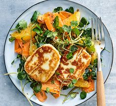 Serve this halloumi, carrot, orange and watercress salad with a mustard and honey dressing for a delicious lunch or starter; delivering one of your Credit: BBC Good Food Winter Salad Recipes, Salad Recipes Video, Salad Recipes For Dinner, Bbc Good Food Recipes, Healthy Salad Recipes, Starter Recipes, Keto Recipes, Healthy Food, Appetizer Recipes