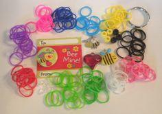 Rainbow Loom Bee Mine! Valentine Keychain, Bracelet, Lanyard Kit, charms