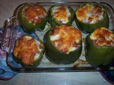 """"""" South Beach"""" Stuffed Bell Peppers from Food.com:   This is a recipe I made up when I was in Phase 1 of the South Beach Diet. My kids have begun to request it for supper!"""