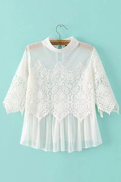 White Lace Insert Mesh Top                                                                                                                                                                                 More