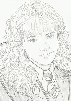 Harry Potter Sketch, Harry Potter Drawings, Harry Potter Fan Art, Hermione Granger Drawing, Harry Potter Portraits, Harry Potter Coloring Pages, Harry Potter Colors, Cool Pencil Drawings, Z Arts