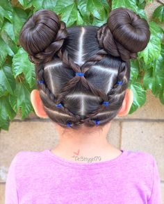 """""""Life is too short to have boring hair."""" . Lots of elastic rope braids into buns  #pr3ttyhairstyles  #pr3ttyheartstyles"""