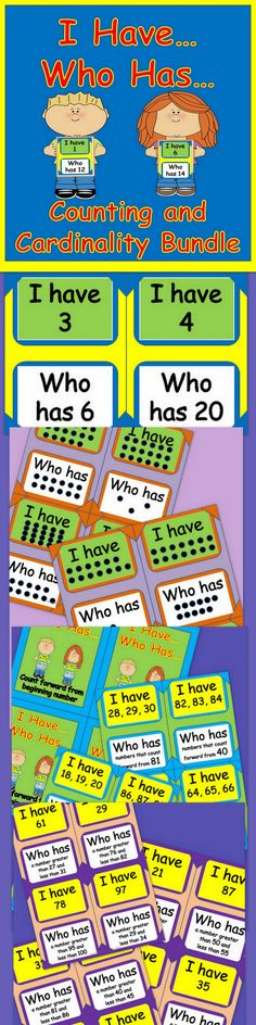"$ Four different ""I Have...Who Has"" Counting and Cardinality Games are included in this Bundle."