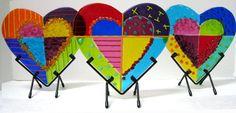 Anne Nye Colorful Fused Glass heart