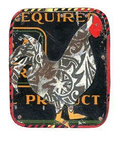 Jane Wells Harrison-chicken assemblage art badges