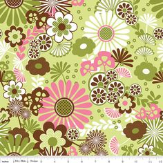Dainty Blossoms Fabric  Floral Main Green,  Sale  $7.95