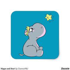 Hippo and Star! Square Sticker