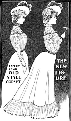 1900 October ladies home journal depicting new corseted shape