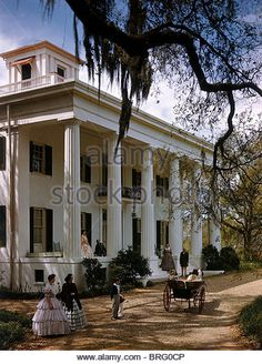 Photographic Print: People in Period Costumes Stand Outside Greek Revival Plantation Home by Willard Culver : - Architecture Southern Plantation Homes, Southern Mansions, Southern Plantations, Southern Homes, Plantation Houses, Southern Comfort, Southern Charm, Southern Living, Southern Style