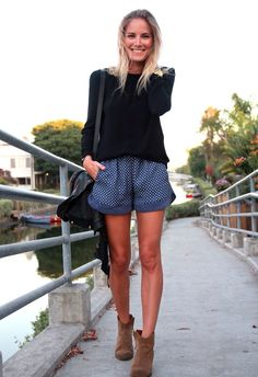 Pairing shorts with ankle-length booties - great way to transition into fall. #blissboutiques