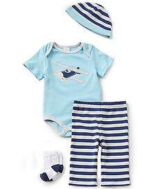 Starting Out Baby Boys Newborn-9 Months Plane-Appliquéd 4-Piece Layette Set