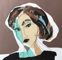 Mixed media. Steel wire portrait. Paper collage. Alicia. 50x50 cm.
